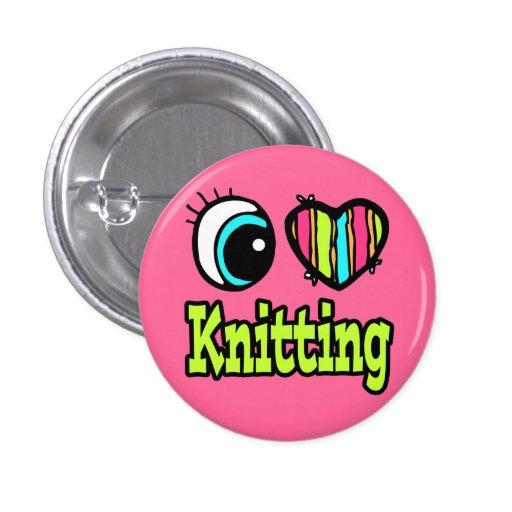 Bright Eye Heart I Love Knitting Button