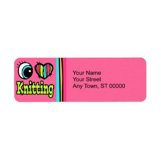Bright Eye Heart I Love Knitting Return Address Label