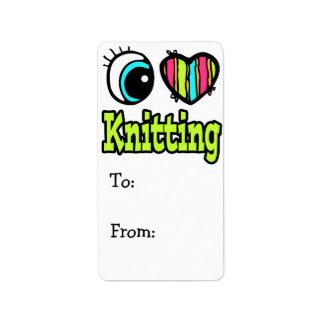 Bright Eye Heart I Love Knitting Address Label