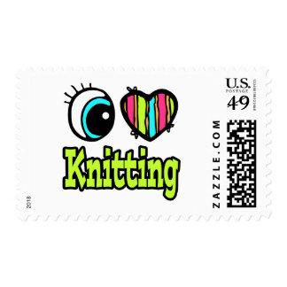 Bright Eye Heart I Love Knitting Postage Stamp