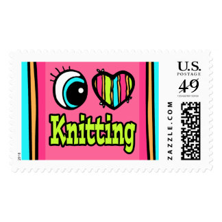 Bright Eye Heart I Love Knitting Postage Stamps