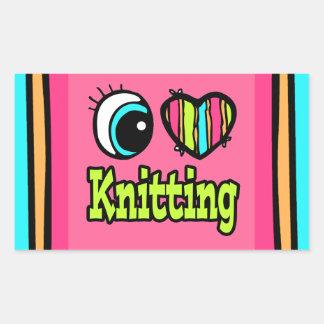Bright Eye Heart I Love Knitting Rectangle Stickers