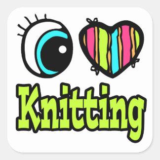Bright Eye Heart I Love Knitting Square Sticker