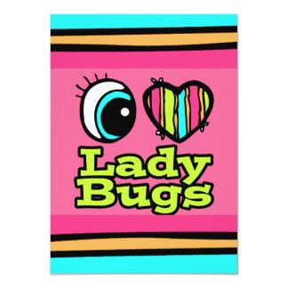 Bright Eye Heart I Love Ladybugs 4.5x6.25 Paper Invitation Card