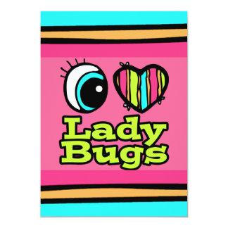 Bright Eye Heart I Love Ladybugs 5x7 Paper Invitation Card