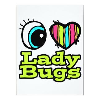 Bright Eye Heart I Love Ladybugs 6.5x8.75 Paper Invitation Card