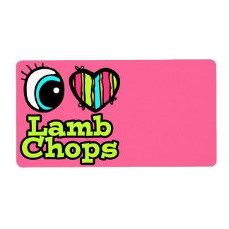 Bright Eye Heart I Love Lamb Chops Shipping Labels