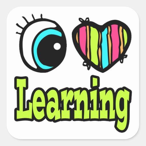 Bright Eye Heart I Love Learning Square Sticker
