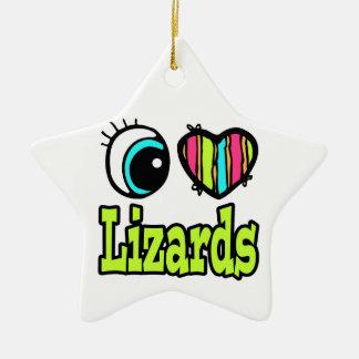 Bright Eye Heart I Love Lizards Double-Sided Star Ceramic Christmas Ornament