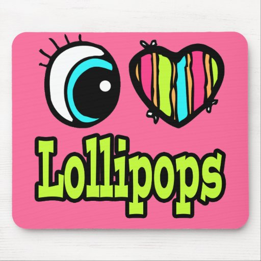 Bright Eye Heart I Love Lollipops Mouse Pad