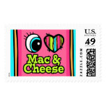 Bright Eye Heart I Love Mac and Cheese Postage Stamps