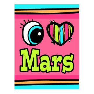 Bright Eye Heart I Love Mars Postcard