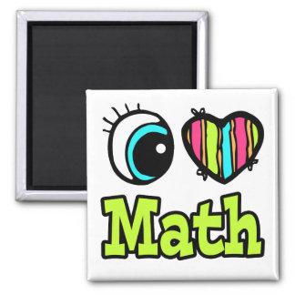 Bright Eye Heart I Love Math 2 Inch Square Magnet