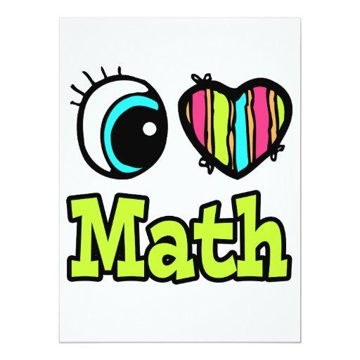 Bright Eye Heart I Love Math 6.5x8.75 Paper Invitation Card