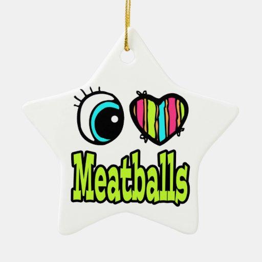 Bright Eye Heart I Love Meatballs Double-Sided Star Ceramic Christmas Ornament