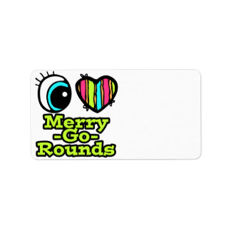 Bright Eye Heart I Love Merry-Go-Rounds Address Label