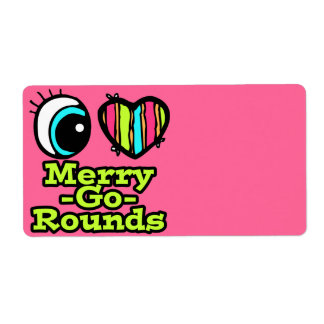 Bright Eye Heart I Love Merry-Go-Rounds Shipping Label