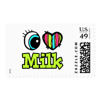 Bright Eye Heart I Love Milk Postage Stamps
