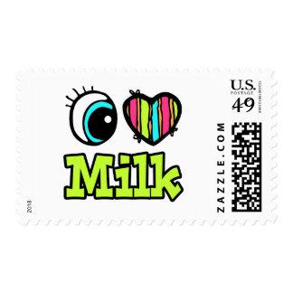 Bright Eye Heart I Love Milk Stamp