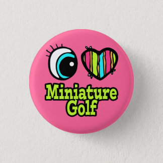 Bright Eye Heart I Love Miniature Golf Button