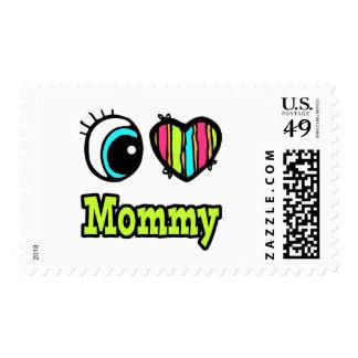 Bright Eye Heart I Love Mommy Postage Stamp