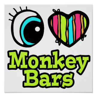 Bright Eye Heart I Love Monkey Bars Print