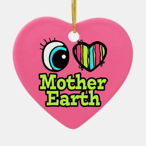 Bright Eye Heart I Love Mother Earth Double-Sided Heart Ceramic Christmas Ornament