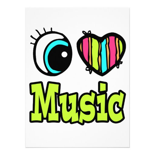 Bright Eye Heart I Love Music Personalized Announcements