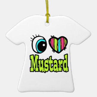 Bright Eye Heart I Love Mustard Double-Sided T-Shirt Ceramic Christmas Ornament