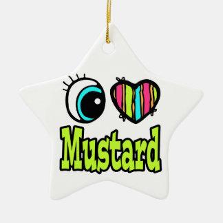 Bright Eye Heart I Love Mustard Double-Sided Star Ceramic Christmas Ornament