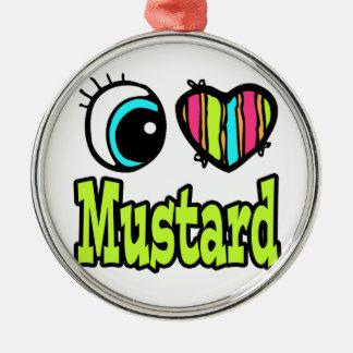 Bright Eye Heart I Love Mustard Round Metal Christmas Ornament