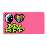Bright Eye Heart I Love My BFF Personalized Shipping Label