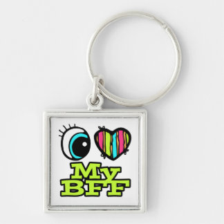 Bright Eye Heart I Love My BFF Silver-Colored Square Keychain