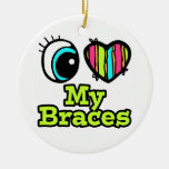 Bright Eye Heart I Love My Braces Double-Sided Ceramic Round Christmas Ornament