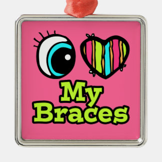 Bright Eye Heart I Love My Braces Square Metal Christmas Ornament