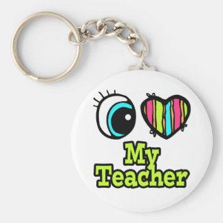 Bright Eye Heart I Love My Teacher Basic Round Button Keychain