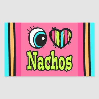 Bright Eye Heart I Love Nachos Rectangular Stickers