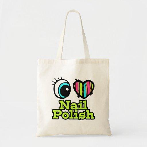 Bright Eye Heart I Love Nail Polish Budget Tote Bag