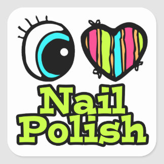 Bright Eye Heart I Love Nail Polish Square Sticker