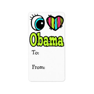 Bright Eye Heart I Love Obama Label