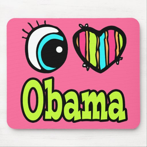 Bright Eye Heart I Love Obama Mouse Pads
