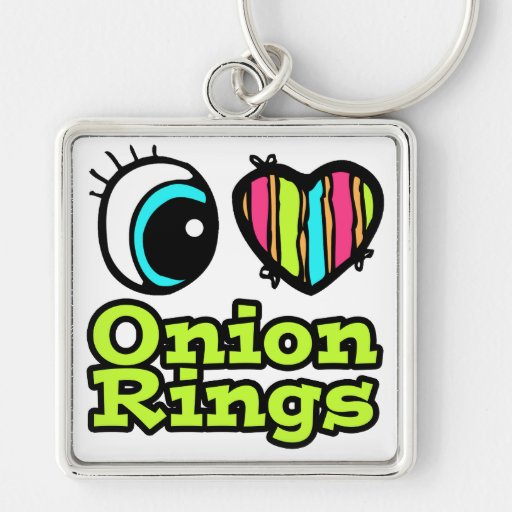 Bright Eye Heart I Love Onion Rings Silver-Colored Square Keychain