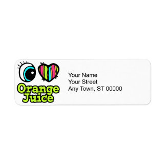 Bright Eye Heart I Love Orange Juice Label