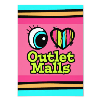 Bright Eye Heart I Love Outlet Malls Personalized Invite