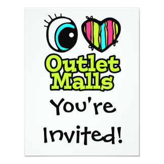 """Bright Eye Heart I Love Outlet Malls 4.25"""" X 5.5"""" Invitation Card"""