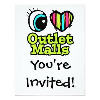 Bright Eye Heart I Love Outlet Malls Custom Invitations