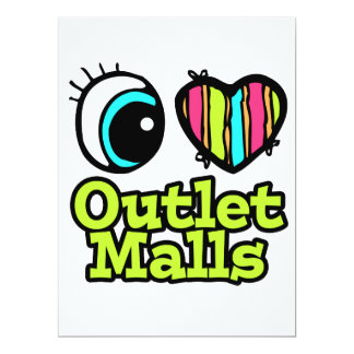 Bright Eye Heart I Love Outlet Malls Personalized Invitation
