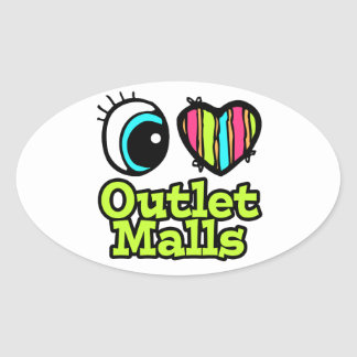 Bright Eye Heart I Love Outlet Malls Oval Sticker