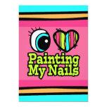 Bright Eye Heart I Love Painting My Nails 5x7 Paper Invitation Card
