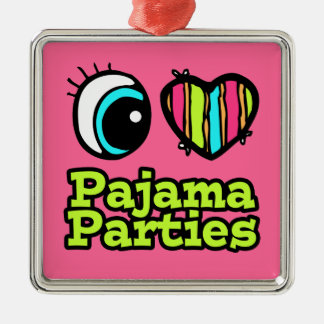 Bright Eye Heart I Love Pajama Parties Square Metal Christmas Ornament